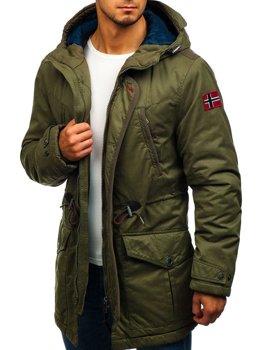 Мужская зимняя куртка парка зеленая Bolf 1777