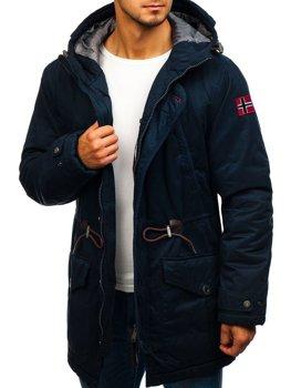 Мужская зимняя куртка парка темно-синяя Bolf 1777