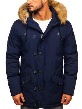 Мужская зимняя куртка парка темно-синяя Bolf 1971