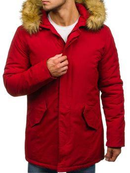 Мужская зимняя куртка парка червона Bolf YT303