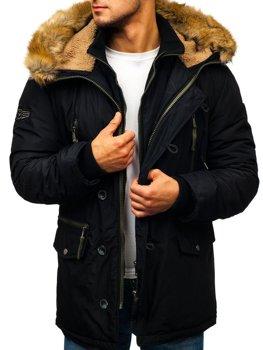 Мужская зимняя куртка парка черная Bolf 1045