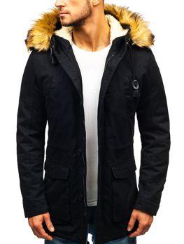 Мужская зимняя куртка парка черная Bolf 88709