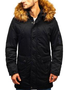 Мужская зимняя куртка парка черная Bolf R106