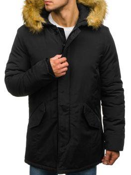 Мужская зимняя куртка парка черная Bolf YT303