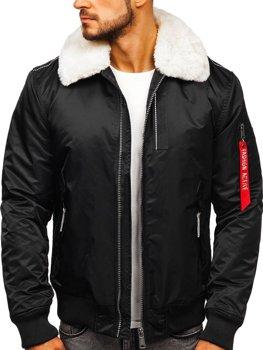 Мужская зимняя куртка пилот черная Bolf 1787