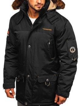 Мужская зимняя куртка черная Bolf 40014