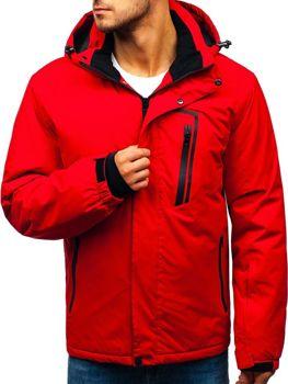 Мужская зимняя лыжная куртка красная Bolf HZ8107