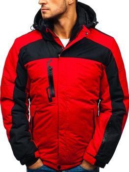 Мужская зимняя лыжная куртка красная Bolf HZ8112