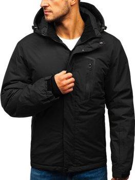 Мужская зимняя лыжная куртка черная Bolf HZ8107