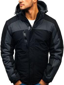 Мужская зимняя лыжная куртка черная Bolf HZ8112