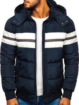 Мужская зимняя спортивная куртка темно-синяя Bolf JK397
