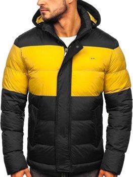 Мужская зимняя спортивная стеганая куртка черная Bolf 1975