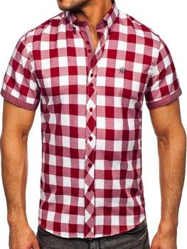 Мужская клетчатая рубашка с коротким рукавом бордовая Bolf 6522