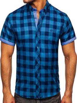 Мужская клетчатая рубашка с коротким рукавом синяя Bolf 6522