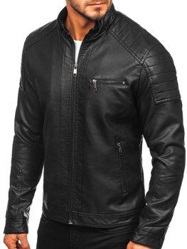 Мужская кожаная куртка байкер черная Bolf 88903