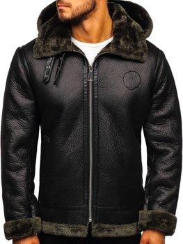 Мужская кожаная куртка черная Bolf 88197