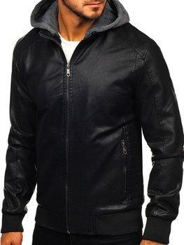 Мужская кожаная куртка черная Bolf 92525