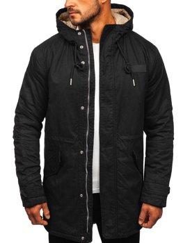 Мужская куртка зимняя парка черная Bolf EX838