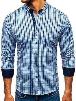 Мужская рубашка виши в клетку с длинным рукавом голубая Bolf 4712