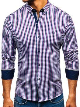 Мужская рубашка виши в клетку с длинным рукавом фиолетовая Bolf 4712