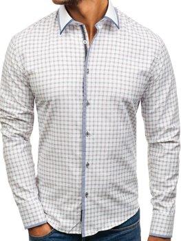 Мужская рубашка в клетку с длинным рукавом бело-бордовая Bolf 8812