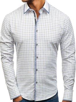 Мужская рубашка в клетку с длинным рукавом бело-черная Bolf 8812