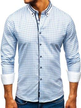 Мужская рубашка в клетку с длинным рукавом голубая Bolf 8808