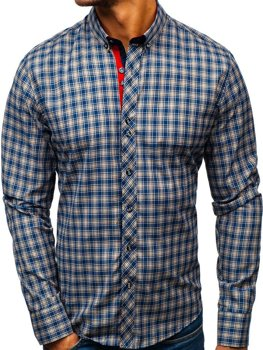 Мужская рубашка в клетку с длинным рукавом темно-сине-желтая Bolf 8835