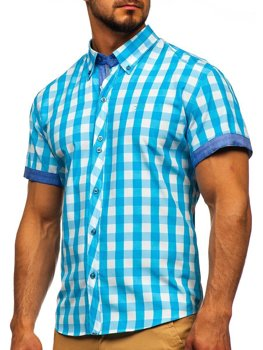 Мужская рубашка в клетку с коротким рукавом бирюзовая Bolf 6522