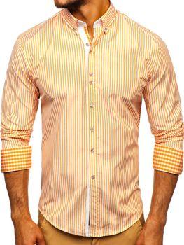 Мужская рубашка в полоску с длинным рукавом оранжевая Bolf 9711