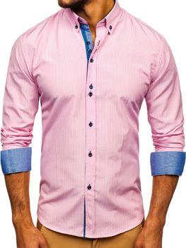 Мужская рубашка в полоску с длинным рукавом розовая Bolf 9714