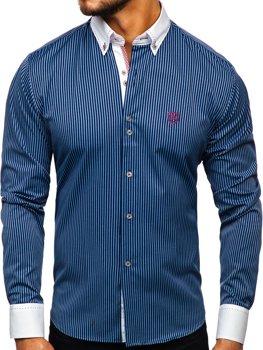 Мужская рубашка в полоску с длинным рукавом темно-синяя Bolf 9717