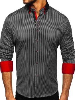 Мужская рубашка в полоску с длинным рукавом черная Bolf 2751