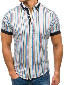 Мужская  рубашка в полоску с коротким рукавом мультиколор Bolf 5204B