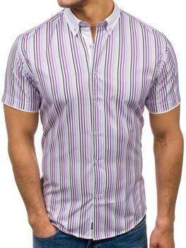 Мужская рубашка в полоску с коротким рукавом фиолетовая Bolf 5201