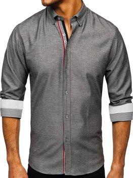 Мужская рубашка с длинным рукавом графитовая Bolf 8843