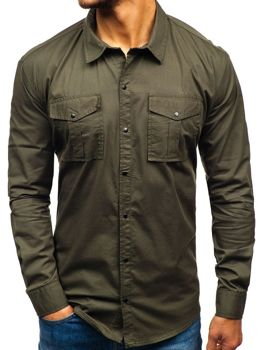 Мужская рубашка с длинным рукавом хаки Bolf 2058-1