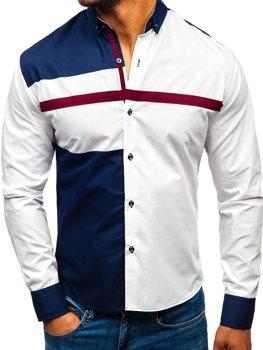 Мужская рубашка с узором с длинным рукавом белая Bolf 5729-A
