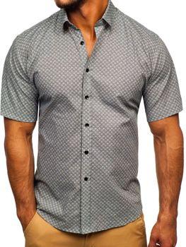 Мужская рубашка с узором с коротким рукавом серая Bolf TSK101