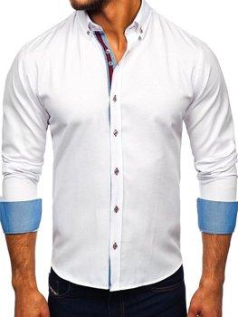 Мужская рубашка элегантная с длинным рукавом белая Bolf 5801-А