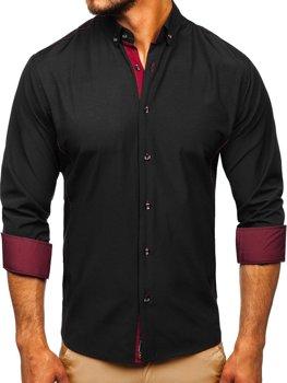 Мужская рубашка элегантная с длинным рукавом черно-бордовая Bolf 5722-1
