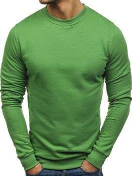 Мужская толстовка без капюшона зеленая Bolf 01