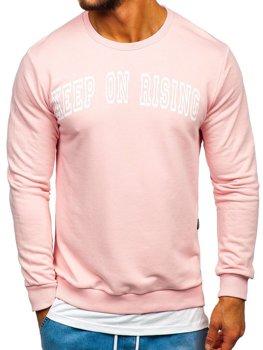 Мужская толстовка без капюшона с принтом розовая Bolf 11114