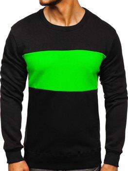 Мужская толстовка без капюшона черно-зеленая Bolf 2010