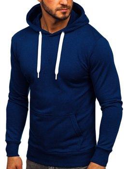 Мужская толстовка с капюшоном темно-синяя Bolf 1004