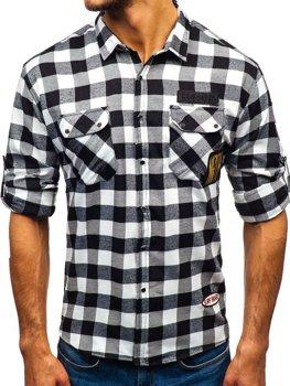 Мужская фланелевая рубашка с длинным рукавом черная Bolf 2503