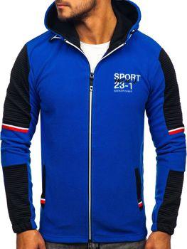 Мужская флисовая толстовка с капюшоном синяя Bolf YL006
