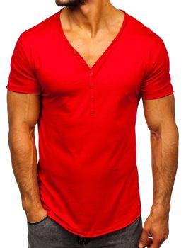 Мужская футболка без принта красная Bolf 4049