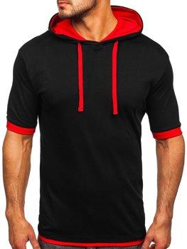 Мужская футболка без принта черно-красная Bolf 08