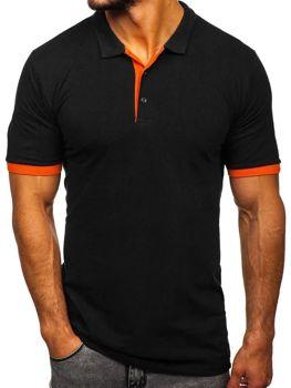 Мужская футболка поло черно-оранжевая Bolf 171222-1